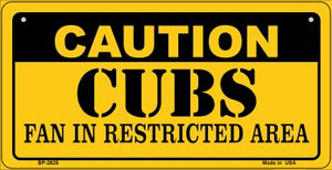 Caution Cubs Fan Area Wholesale Novelty Metal Bicycle Plate BP-2628