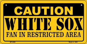 Caution White Sox Fan Area Wholesale Novelty Metal Bicycle Plate BP-2629