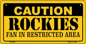 Caution Rockies Fan Area Wholesale Novelty Metal Bicycle Plate BP-2632