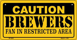 Caution Brewers Fan Area Wholesale Novelty Metal Bicycle Plate BP-2638
