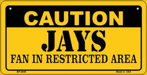 Caution Jays Fan Area Wholesale Novelty Metal Bicycle Plate BP-2649