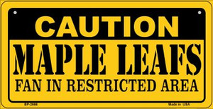 Caution Maple Leafs Fan Area Wholesale Novelty Metal Bicycle Plate BP-2666