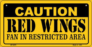 Caution Red Wings Fan Area Wholesale Novelty Metal Bicycle Plate BP-2675