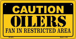 Caution Oilers Fan Area Wholesale Novelty Metal Bicycle Plate BP-2676