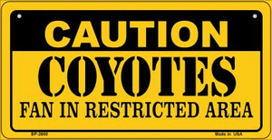 Caution Coyotes Fan Area Wholesale Novelty Metal Bicycle Plate BP-2680
