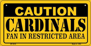 Caution Cardinals Fan Area Wholesale Novelty Metal Bicycle Plate BP-2518