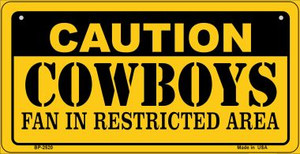Caution Cowboys Fan Area Wholesale Novelty Metal Bicycle Plate BP-2520