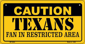 Caution Texans Fan Area Wholesale Novelty Metal Bicycle Plate BP-2524