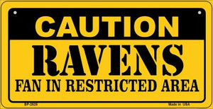 Caution Ravens Fan Area Wholesale Novelty Metal Bicycle Plate BP-2525