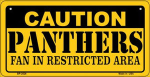 Caution Panthers Fan Area Wholesale Novelty Metal Bicycle Plate BP-2526