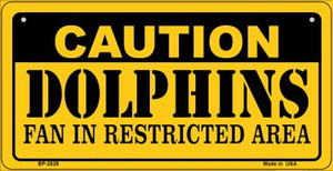 Caution Dolphins Fan Area Wholesale Novelty Metal Bicycle Plate BP-2529