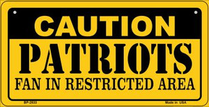 Caution Patriots Fan Area Wholesale Novelty Metal Bicycle Plate BP-2533