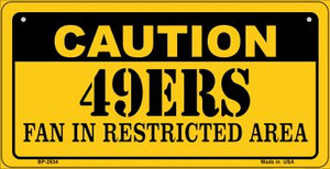Caution 49ers Fan Area Wholesale Novelty Metal Bicycle Plate BP-2534