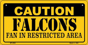 Caution Falcons Fan Area Wholesale Novelty Metal Bicycle Plate BP-2535