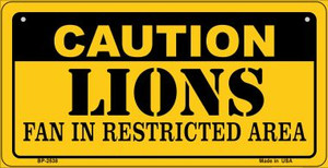 Caution Lions Fan Area Wholesale Novelty Metal Bicycle Plate BP-2538