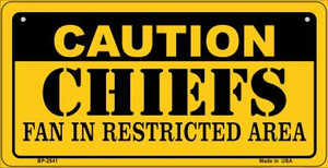 Caution Chiefs Fan Area Wholesale Novelty Metal Bicycle Plate BP-2541
