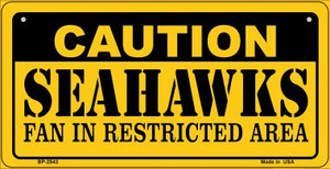 Caution Seahawks Fan Area Wholesale Novelty Metal Bicycle Plate BP-2543