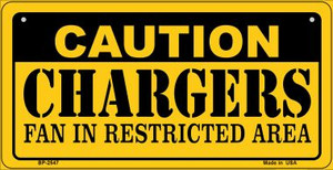 Caution Chargers Fan Area Wholesale Novelty Metal Bicycle Plate BP-2547