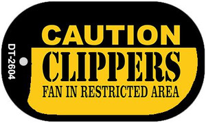 Caution Clippers Fan Area Wholesale Novelty Metal Dog Tag Necklace DT-2604