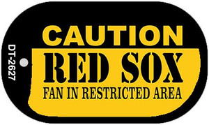 Caution Red Sox Fan Area Wholesale Novelty Metal Dog Tag Necklace DT-2627