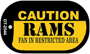 Caution Rams Fan Area Wholesale Novelty Metal Dog Tag Necklace DT-2544