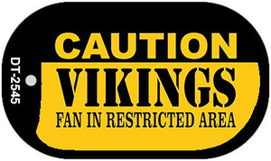 Caution Vikings Fan Area Wholesale Novelty Metal Dog Tag Necklace DT-2545