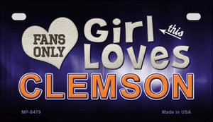 This Girl Loves Her Clemson Wholesale Novelty Metal Motorcycle Plate MP-8479