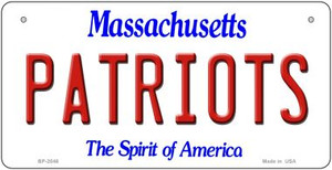 Patriots Massachusetts Wholesale Novelty Metal Bicycle Plate BP-2046