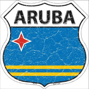 Aruba Country Flag Highway Shield Wholesale Metal Sign