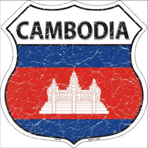 Cambodia Country Flag Highway Shield Wholesale Metal Sign