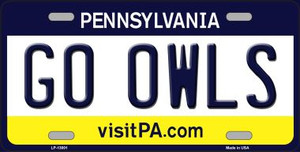 Go Owls Wholesale Novelty Metal License Plate LP-13001