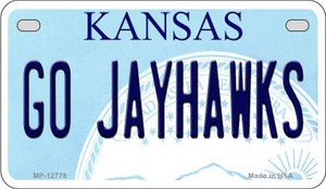 Go Jayhawks Wholesale Novelty Metal Motorcycle Plate MP-12778