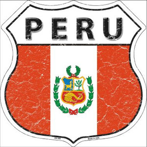 Peru Country Flag Highway Shield Wholesale Metal Sign