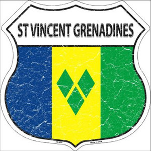 St Vincent Grenadines Country Flag Highway Shield Wholesale Metal Sign