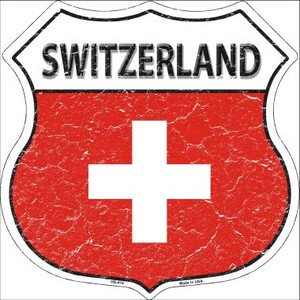 Switzerland Country Flag Highway Shield Wholesale Metal Sign
