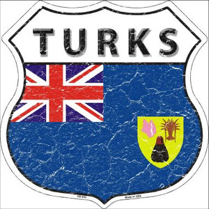 Turks Country Flag Highway Shield Wholesale Metal Sign