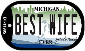 Michigan Best Wife Wholesale Novelty Metal Dog Tag Necklace DT-11905