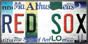 Red Sox Strip Art Wholesale Novelty Metal License Plate Tag LP-13186