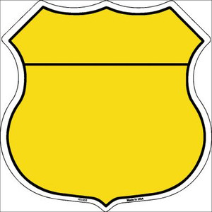 Yellow|Black Plain Highway Shield Wholesale Metal Sign HS-006