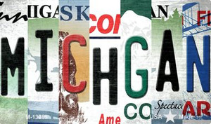 Michigan Strip Art Wholesale Novelty Metal Magnet M-13289