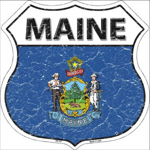 Maine State Flag Highway Shield Wholesale Metal Sign