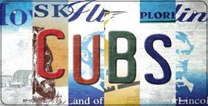 Cubs Strip Art Wholesale Novelty Metal Bicycle Plate BP-13187