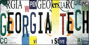 Georgia Tech Strip Art Wholesale Novelty Metal Bicycle Plate BP-13280