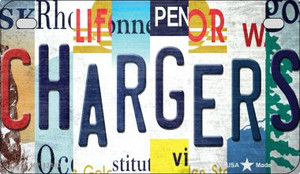 Chargers Strip Art Wholesale Novelty Metal Motorcycle Plate MP-13180