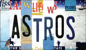 Astros Strip Art Wholesale Novelty Metal Motorcycle Plate MP-13194