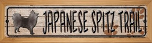 Japanese Spitz Trail Wholesale Novelty Wood Mounted Metal Small Street Sign WB-K-064
