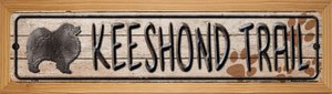 Keeshond Trail Wholesale Novelty Wood Mounted Metal Small Street Sign WB-K-066