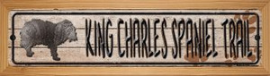 King Charles Spaniel Trail Wholesale Novelty Wood Mounted Metal Small Street Sign WB-K-067