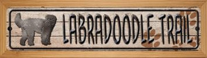 Labradoodle Trail Wholesale Novelty Wood Mounted Metal Small Street Sign WB-K-068