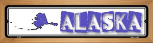 Alaska State Outline Wholesale Novelty Wood Mounted Metal Small Street Sign WB-K-301
